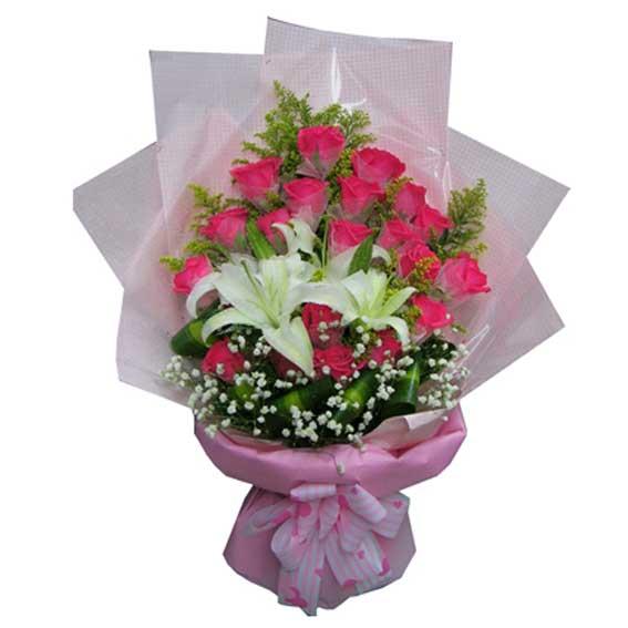 21支红玫瑰+百合/甜蜜情人东莞市厚街元亨花坊