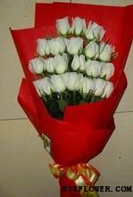 新鲜花艺纯洁无暇_21枝白玫瑰