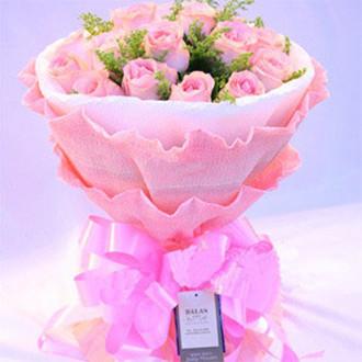 东莞长安紫罗轩花店16支粉玫瑰_灿烂的花