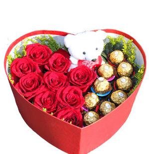 爱的就是你_玫瑰巧克力花盒大邑县兰心花艺