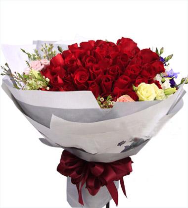 上海松江好选择花店99枝红色玫瑰/心声