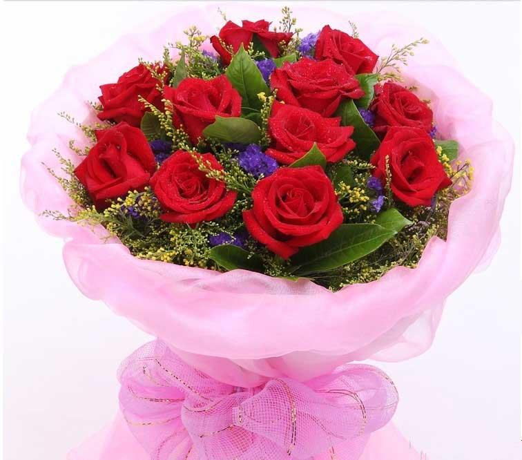 温州瓯海沙仑鲜花店勿忘我/11支红玫瑰花束