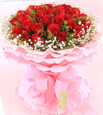 红蔷薇鲜花蛋糕店炽热的暖意/33支红玫瑰