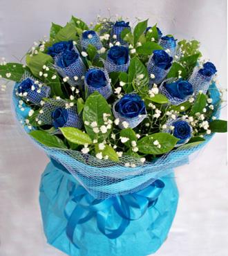 蓝色永恒/11枝蓝玫瑰温馨小花屋