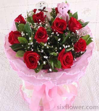 简介:11支红玫瑰+满天星,黄莺绿叶搭配,2只小熊-你很重要 11枝图片