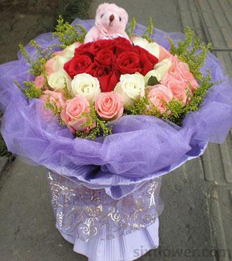 六六大顺精品鲜花屋自由飞翔/33支混合玫瑰