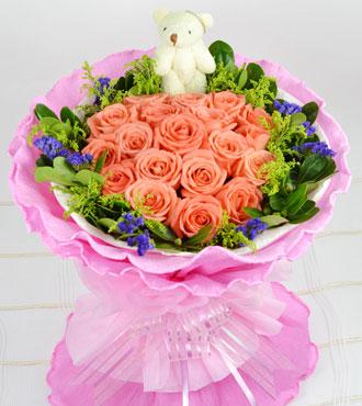 幸福花艺19支粉玫瑰/玫瑰之吻