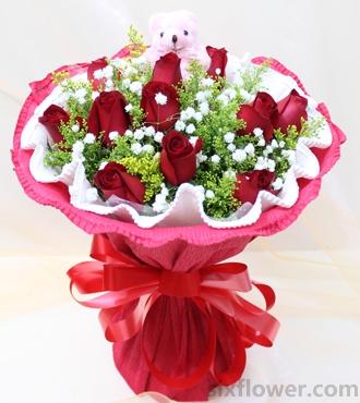 简介:11支红玫瑰,满天星黄莺搭配.1只小熊-生日快乐 11枝红玫瑰图片