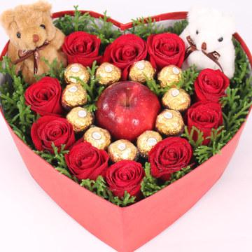 天津浓情花行11支红色玫瑰,苹果玫瑰礼盒装,一生一世永恒的爱