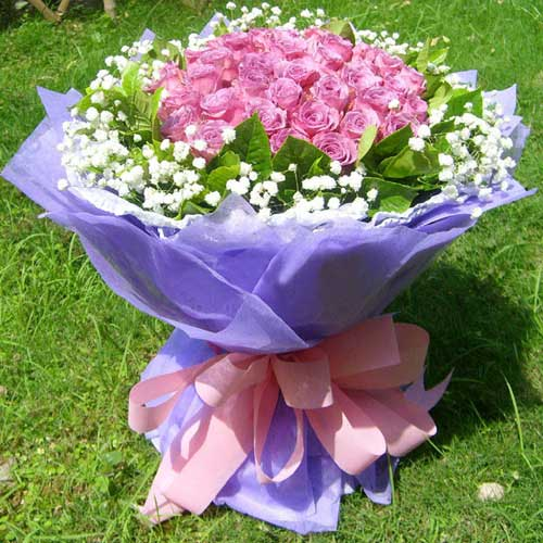 感受你的呼吸/19朵紫玫瑰蝶恋鲜花坊
