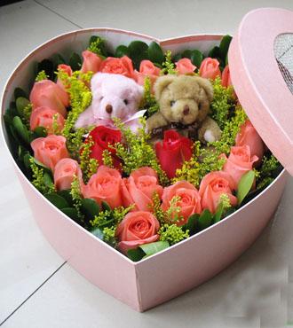 上海兰兰花店19支粉玫花盒/甜蜜的味道
