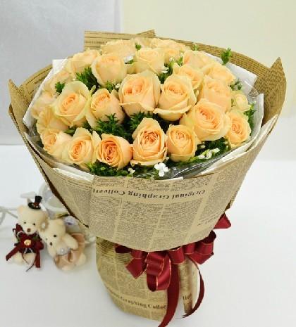 你是我永远的决定/19枝香槟玫瑰上海松江好选择花店