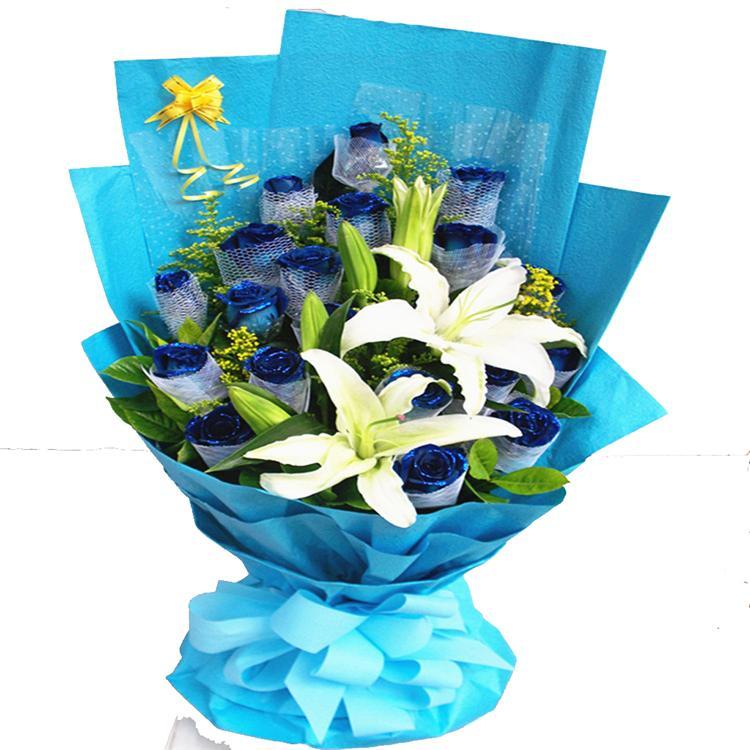 19枝蓝玫瑰/最美丽嫣然花卉