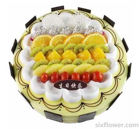 8寸圆形欧式蛋糕东莞厚街情有独钟花坊