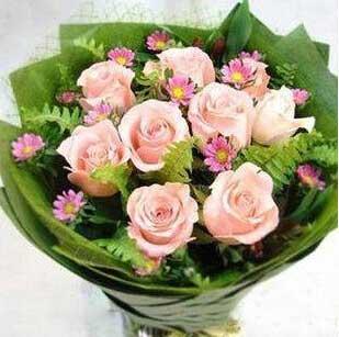 庄河晶晶花艺幸福快乐小天使/9枝粉色玫瑰