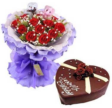 努力飞越/11支玫瑰蛋糕组合花无缺XIAN花店
