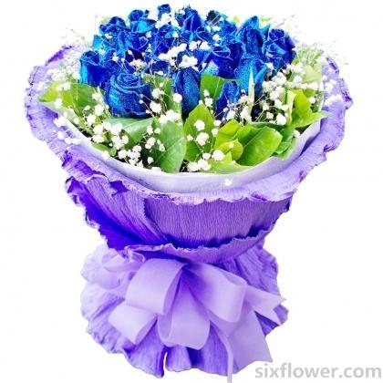 幸福花艺这就是爱/16支蓝玫瑰