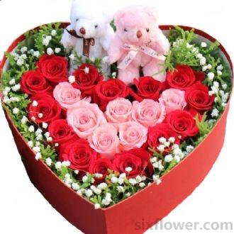 沁语花艺就想和你在一起/21支盒装玫瑰