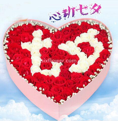 99枝红白玫瑰/献给你的至爱朱泾小屋花店