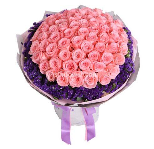 花生活花店戴安娜玫瑰66支/你是我今生最大的幸福