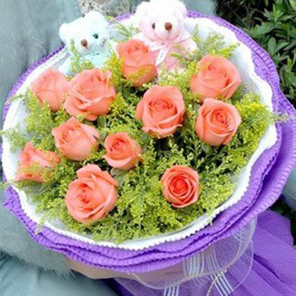 西青区花锦坊我的小甜心/11支粉色玫瑰