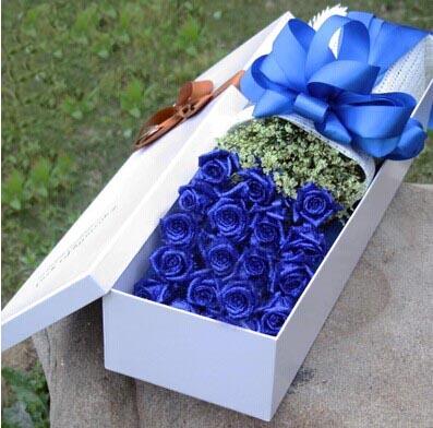 君钰鲜花蛋糕店我心永恒/19支盒装蓝玫瑰