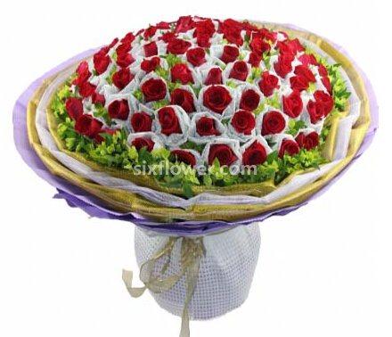 花雨轩批发行心灵的静远/66支红玫瑰单支包装