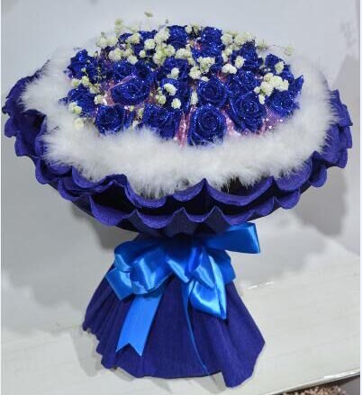 浪漫的情怀永远属于你/27支蓝色玫瑰婷婷鲜花店