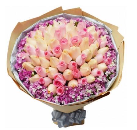 淡然的想念/33枝香槟玫瑰唯美花艺