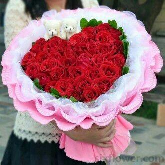 33支红色玫瑰/一生情,永不变晟佰棠花艺店