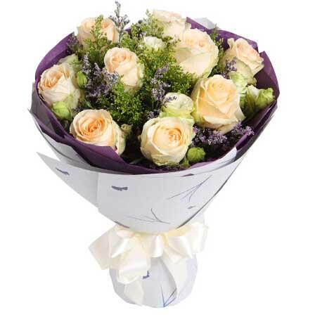 香槟玫瑰9支/爱如氧气红蔷薇鲜花蛋糕店