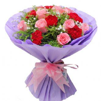 祝您永远快乐/9支玫瑰+9支康乃馨木子花坊