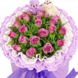 天天好心情/19支紫玫瑰南京花里甜