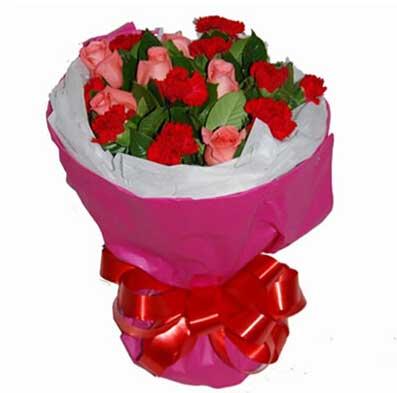 南京美嘉花卉阳光般的温暖/16支康乃馨玫瑰