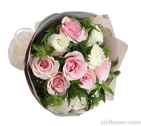 甜蜜/粉白玫瑰12支强子花店