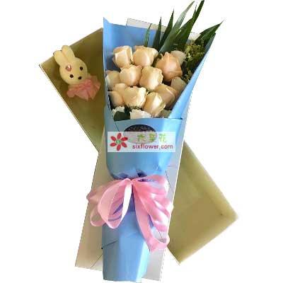 广州1号花店把你捧在手心里/9支香槟玫瑰