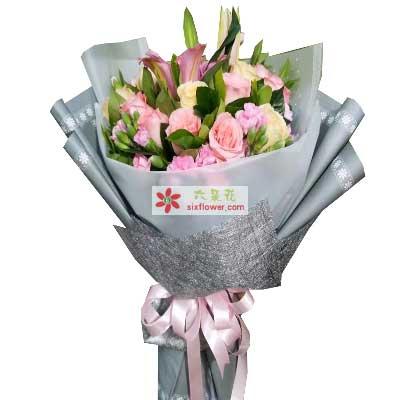 每天都快乐健康/12枝玫瑰,6枝康乃馨,3枝百合心雨花行