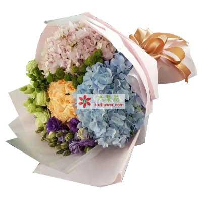 雨梦花艺亲情的包围/12支玫瑰,桔梗一扎,绣球搭配