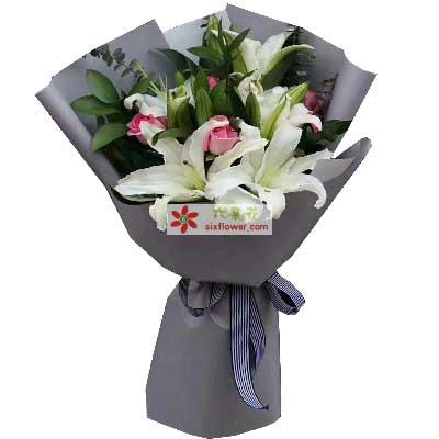 我爱您妈妈/5支百合玫瑰果然有花