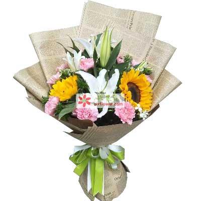 问候/11支粉色康乃馨、向日葵、2只百合温馨小花屋