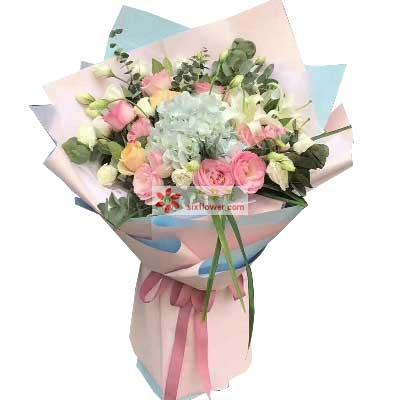 此情惟你独钟/16支玫瑰+百合+绣球花鄞州区友好鲜花