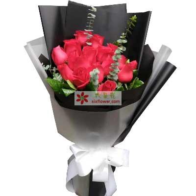 我们的爱美好而又温馨/16支红色玫瑰慈溪一梅花艺