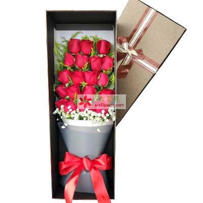 永生永世的等着你/19支红色玫瑰礼盒增城良缘花坊