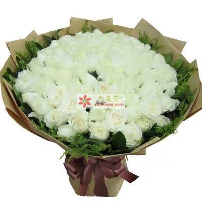爱你的心始终不改变/99支白色玫瑰幸福湾鲜花批发部