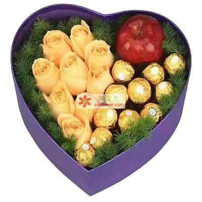 温州168鲜花爱的幸福/9支玫瑰礼盒平安夜苹果