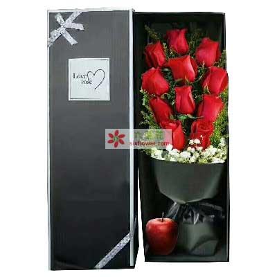 南国花乡我愿为你付出我的全部/11支红色玫瑰+1个苹果