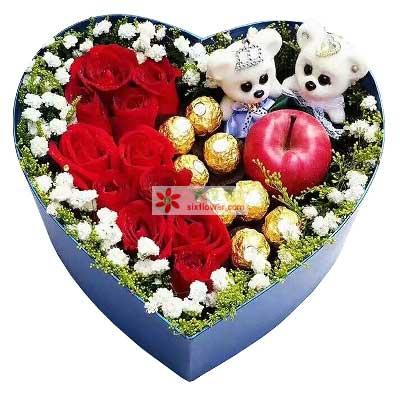 长沙花心思你是我最大的梦想/11支玫瑰巧克力+苹果