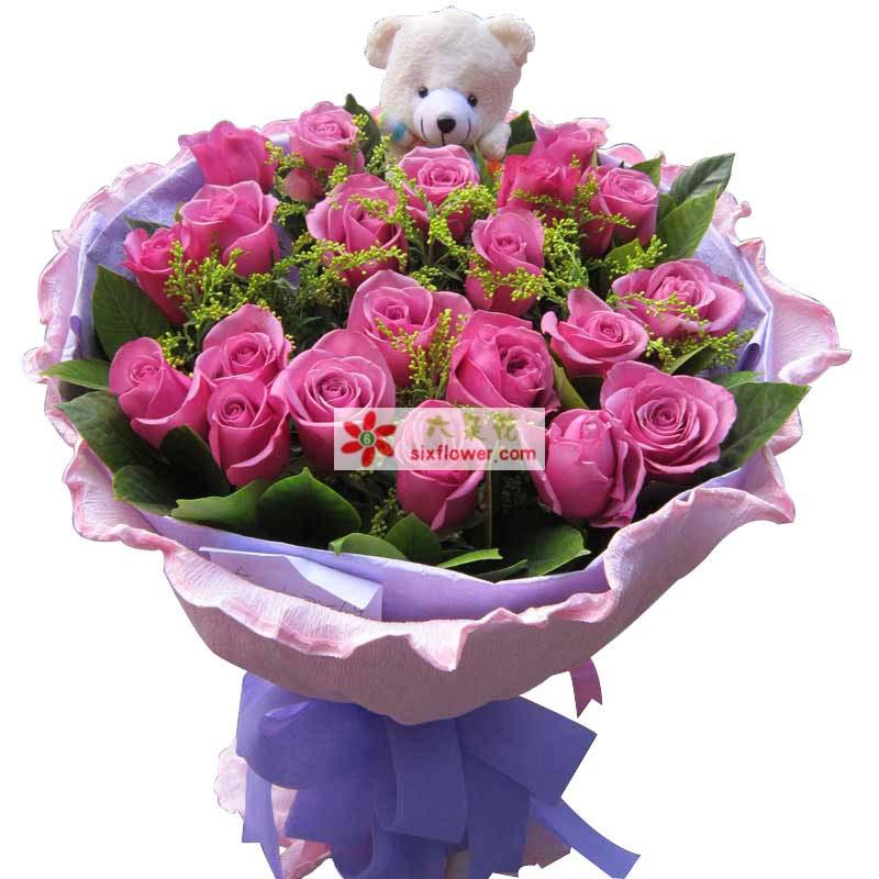 终于找到了你/21支紫玫瑰小玉鲜花批发