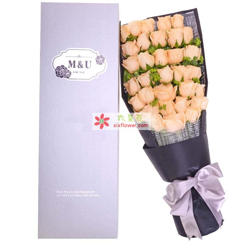 百草园花艺在想你/33支香槟玫瑰