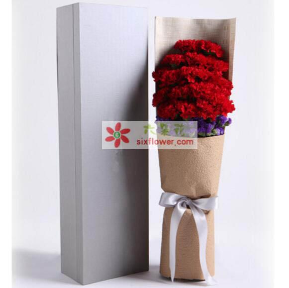 红色康乃馨19枝,勿忘我适量;